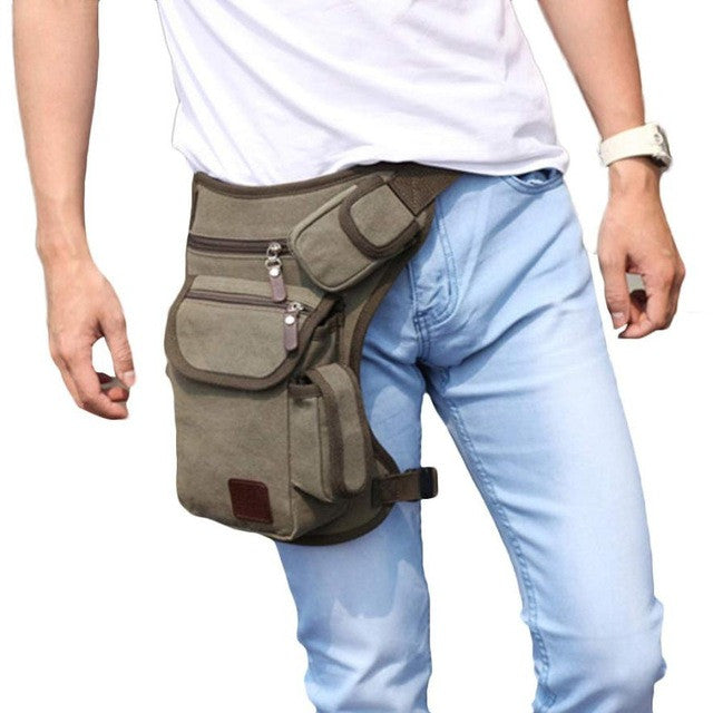 Men's Waist Thigh Canvas Bag