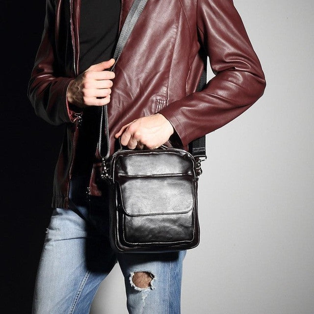 Genuine Leather Men Messenger Bag