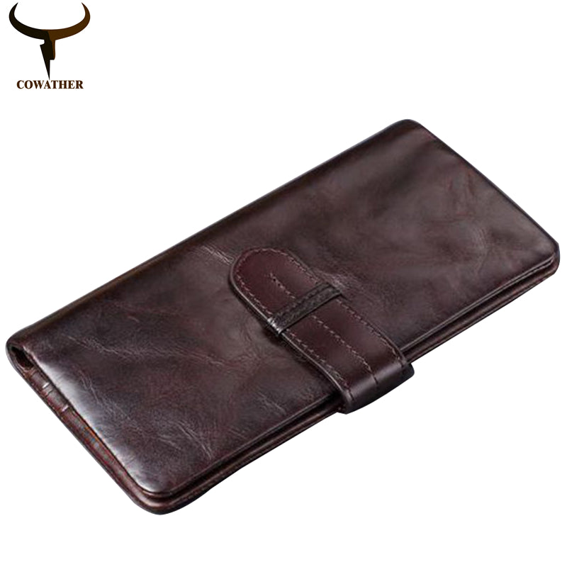 Genuine Leather Long Wallet - Coffee