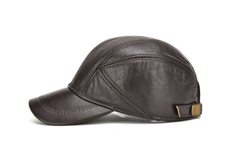 Brown Genuine Leather Baseball Cap