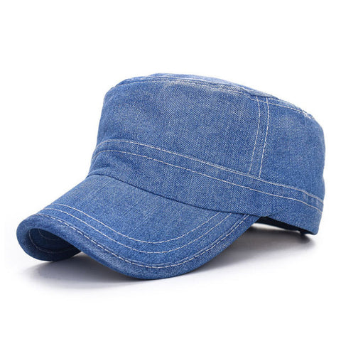 Blue Denim Military Hat