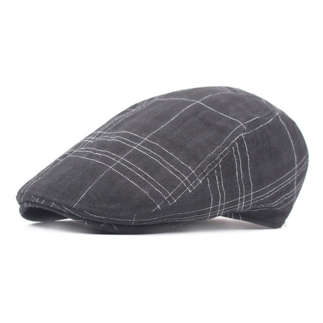Check Pattern Cotton Retro Beret Hat
