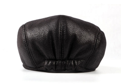 Faux Leather Newsboy Cap