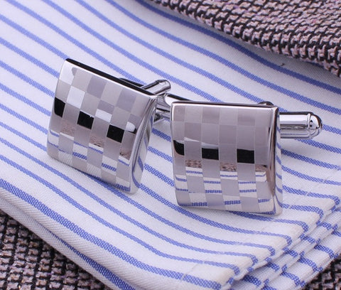 Square Checkered Silver Cufflinks