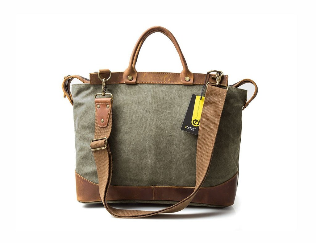 Canvas Laptop Briefcase Bag Computer Bag Hiking Bag Camping Bag Weekend Bag Fits Most 15.6 inch Laptop