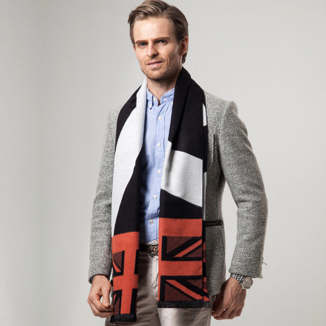 New England Patchwork Style Men's Cashmere Scarf