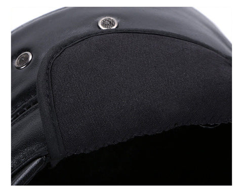 Genuine Leather Black Military Hat