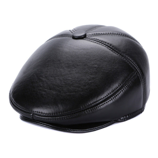 Genuine Leather Black Newsboy Cap
