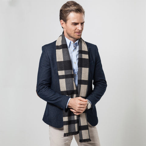 Men's Plaid Style Cashmere Scarf