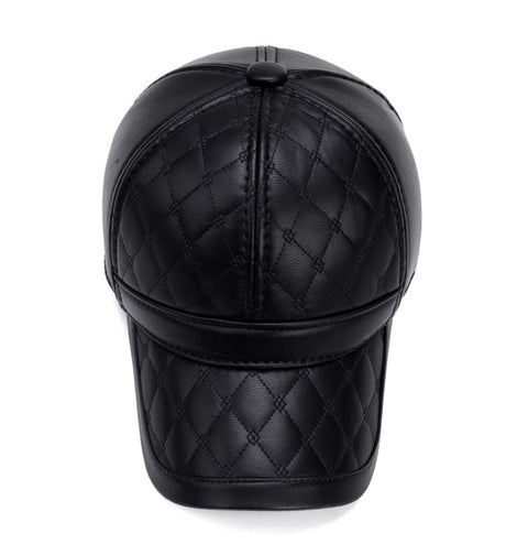 Faux Leather Baseball Cap with Ear Flaps