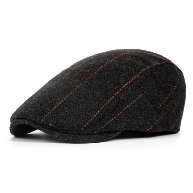 Plaid Woolen Beret Hat