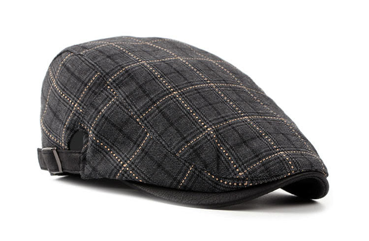 Plaid Style Cotton Beret Hat