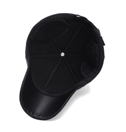 Black Faux Leather Baseball Cap with Ear Flaps