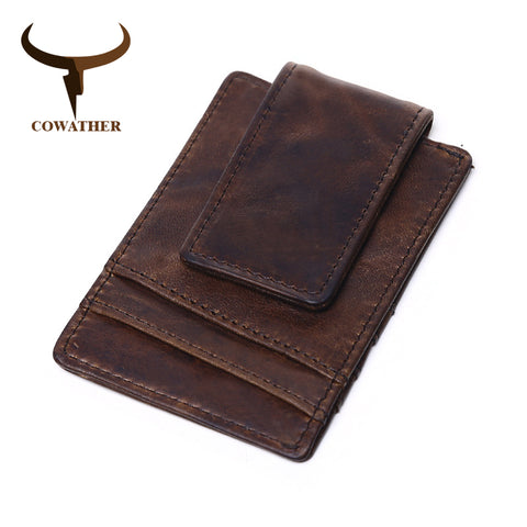 Genuine Leather Money Clip with Card Holder