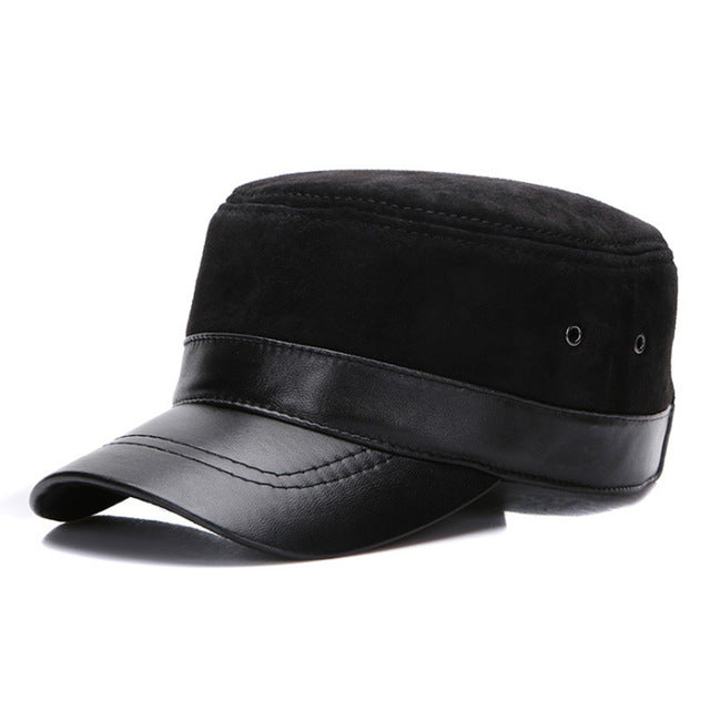 Genuine Leather Flat Baseball Cap