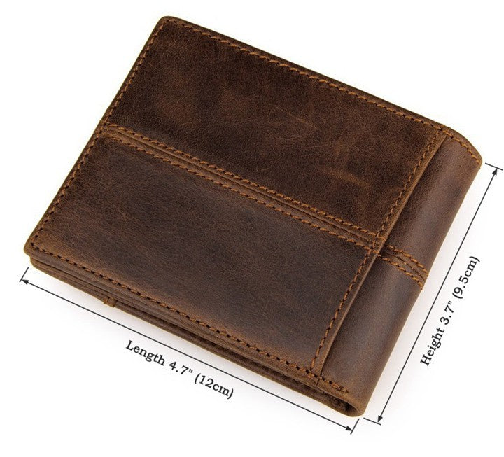 Genuine Leather Bifold Wallet with Outside Pocket