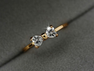 Gold Color Austria Zircon Crystal Rings