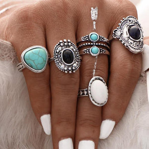 5 Pcs/Set Silver Color Bohemian Midi Rings