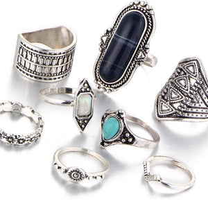 8 Pcs/Set Rings Vintage Tibetan Turkish Silver Color