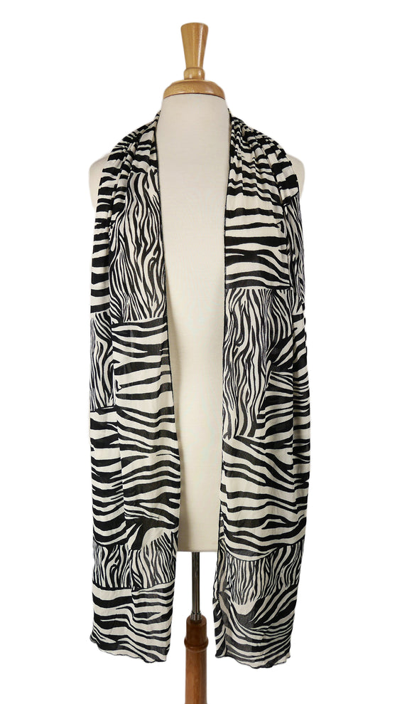 ZEBRA -  Long & Wide Animal Print Shawl