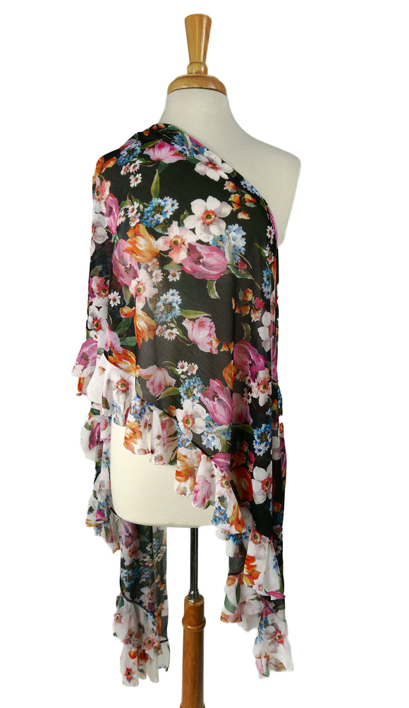 Nicole Long & Wide Floral Print Shawl