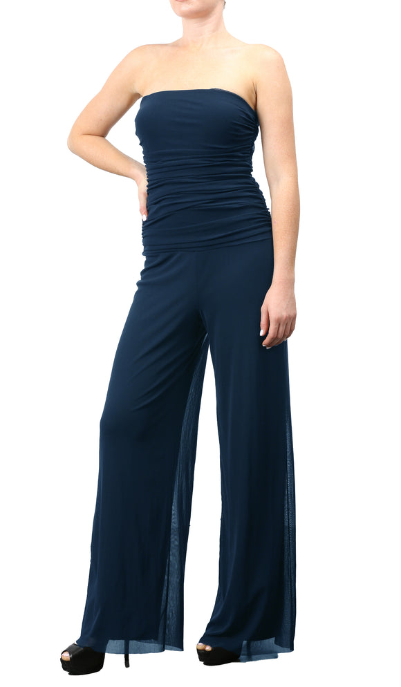 MAXIMA Strapless Ruched Bodice Jumpsuit Navy