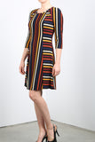 AMBER Side Paneled Striped Fit N Flare Dress