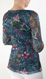America Stretchy Floral Print 3/4 Sleeves Crossover Top