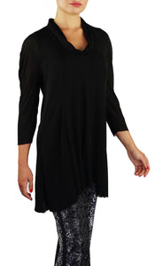 ANGELINA 3/4 Sleeves Cowl Neckline Flaring Tunic Top Black
