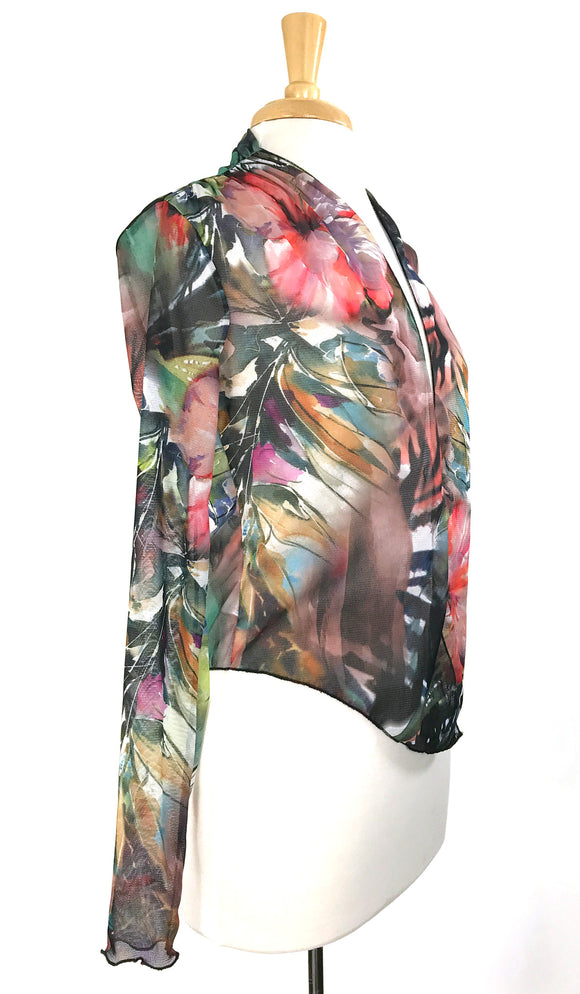 APRIL Print Sheer Long Sleeves Jacket