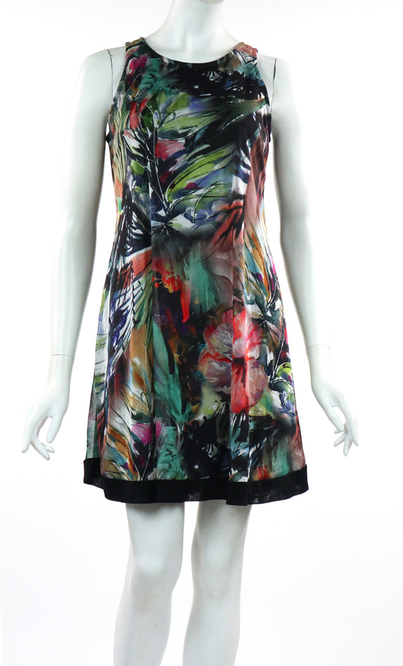 APRIL Sleeveless A-line Above Knee Length Print Mesh Dress