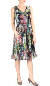 APRIL Sleeveless Paneled Floral Fit And Flare Dress