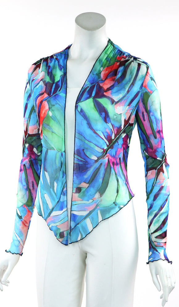 AZURE Sheer Long Sleeve Mesh Print Tulle Bolero Jacket