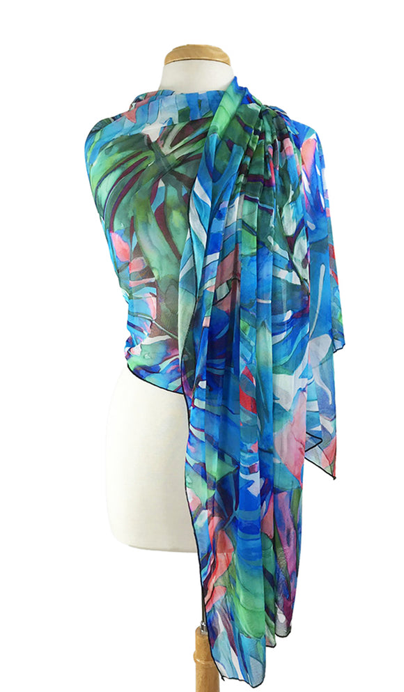 AZURE Long and Wide Sheer Print Shawl