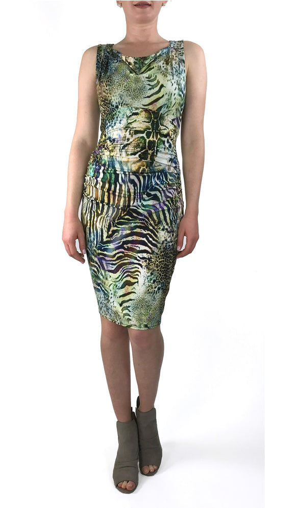 ALEXANDRA Sleeveless Cowl Neck Empire Knee Length Animal Print Dress