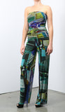 BELLA Strapless Print Jumpsuit with Ruched Bodice