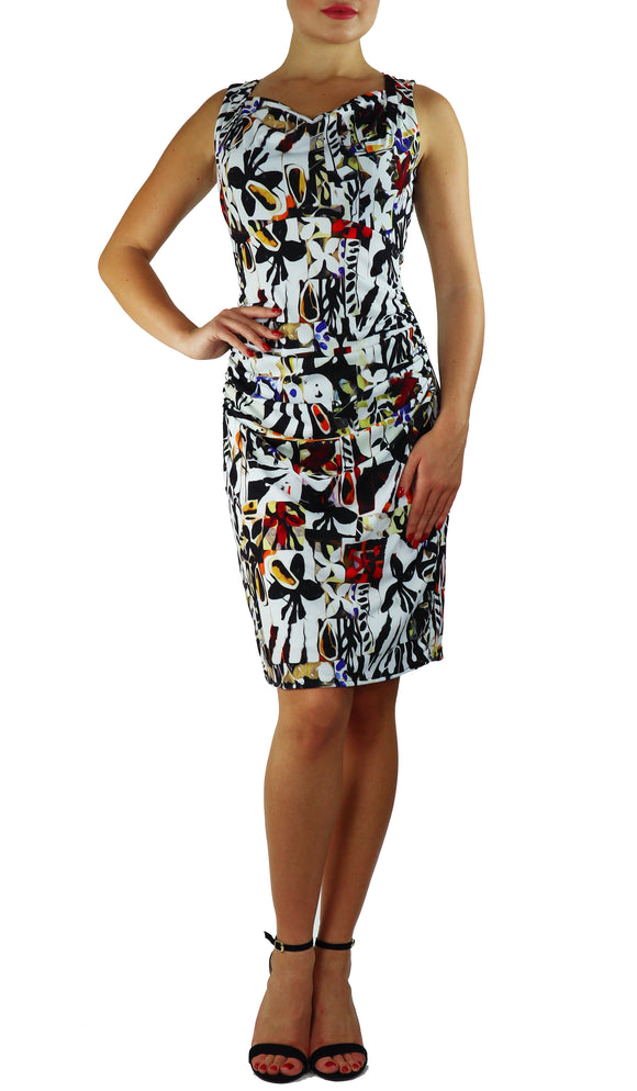 BHUTAN Cowl Neck Sleeveless Ruched Knee Length Print Dress