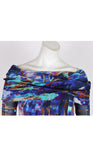 BIARRITZ Draped Neckline Off-Shoulder Long Sleeves Print Top