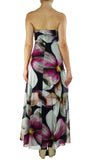 BRIANNA Long Strapless Flared Empire Mesh Print Dress