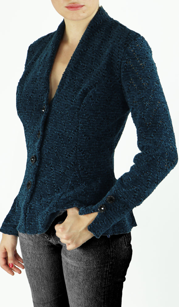 BUFFY Button Up Long Sleeve Chenille Eyelet Jacket Teal