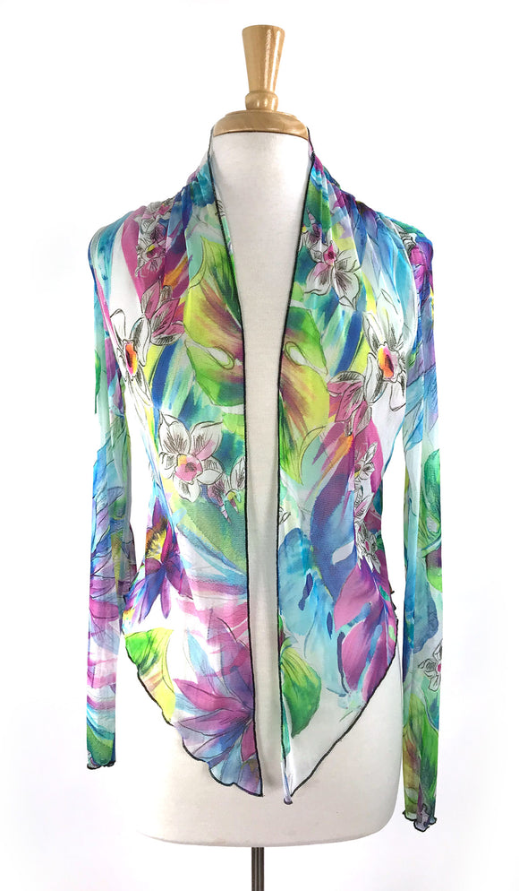 BYANDA Print Sheer Long Sleeves Jacket