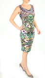 CARA Cowl Neck Sleeveless Ruched Knee Length Print Dress