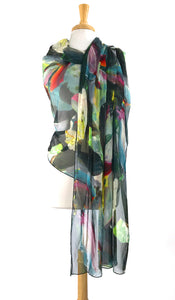 CARMEN  Abstract Print Long & Wide Sheer Shawl Stole Wrap