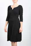 DAIN 3/4 Sleeve Scoop Neck Flared Trapeze Black Dress