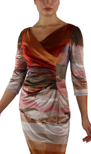 DESIRE Crossover with Ruched Side 3/4 Sleeves Printed Velvet Top