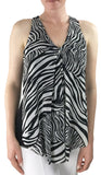 ZEBRA Sleeveless V-Neck Zebra Print Mesh Top with Flyaway