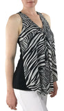DJIBUTTI Sleeveless V-Neck Zebra Print Mesh Top with Flyaway