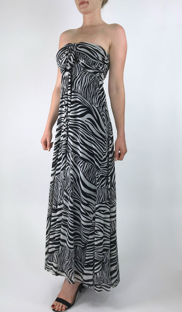 ZEBRA Maxi Strapless Ruched Bodice Empire Zebra Print Dress