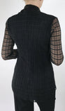 DOLCEVITA Black Window Pane Lace Flared Top With Bow Necktie.