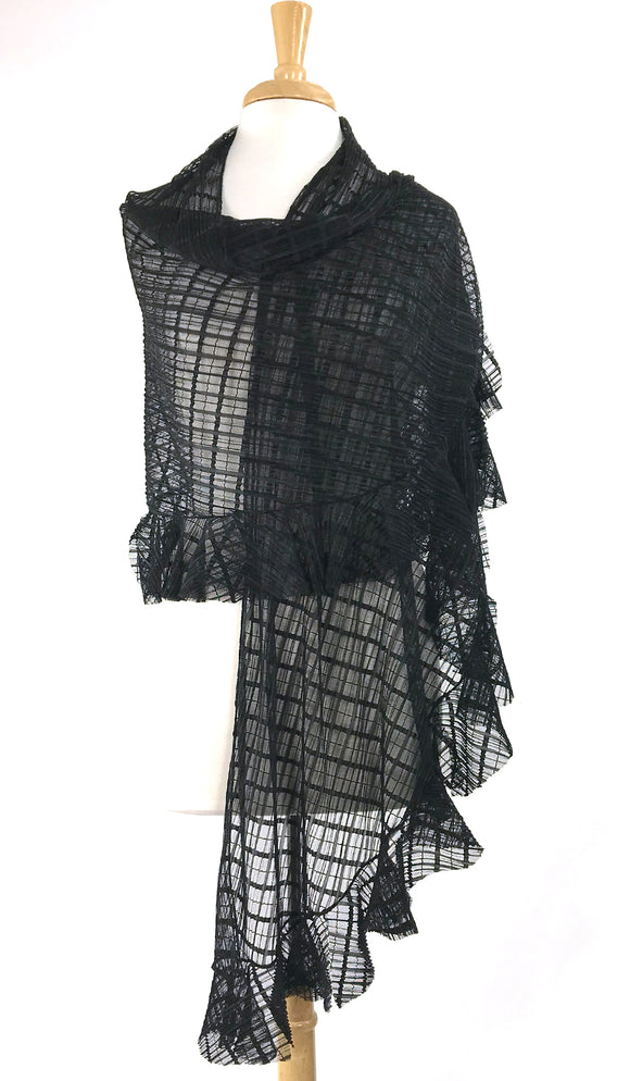 DOLCEVITA Ruffled Long & Wide Window Pane Lace Sheer Shawl Black